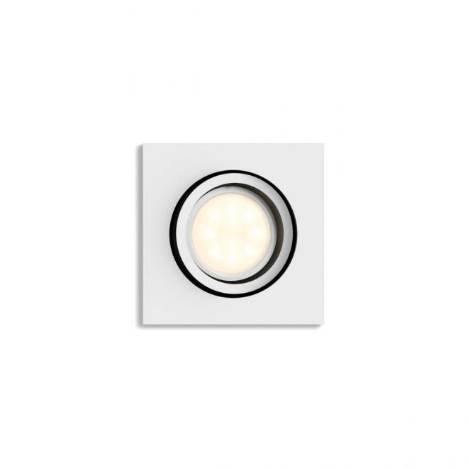 PHILIPS 50421/31/P9 | PHILIPS-hue-Milliskin Philips ugradbene svjetiljke hue smart rasvjeta četvrtast jačina svjetlosti se može podešavati, sa podešavanjem temperature boje, Bluetooth, pomjerljivo 90x90mm 1x GU10 350lm 2200 <-> 6500K bijelo