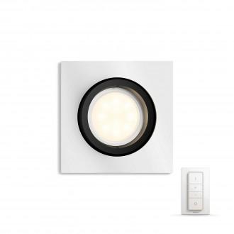 PHILIPS 50421/48/P7 | PHILIPS-hue-Milliskin Philips ugradbene svjetiljke hue DIM portable prekidač + hue smart rasvjeta četvrtast daljinski upravljač jačina svjetlosti se može podešavati, sa podešavanjem temperature boje, pomjerljivo 90x90mm 1x GU10 250lm