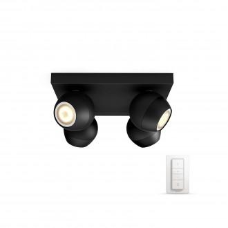 PHILIPS 50474/30/P7 | PHILIPS-hue_Buckram Philips zidna, stropne svjetiljke hue smart rasvjeta okrugli daljinski upravljač jačina svjetlosti se može podešavati, sa podešavanjem temperature boje 4x GU10 1000lm 2200 <-> 6500K crno