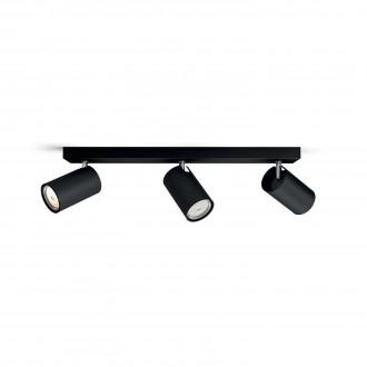 PHILIPS 50593/30/PN | Kosipo Philips zidna, stropne svjetiljke svjetiljka okrugli elementi koji se mogu okretati 3x GU10 crno