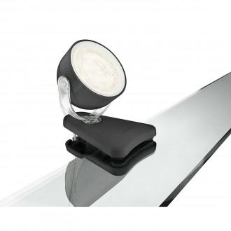 PHILIPS 53231/30/16 | Dyna Philips svjetiljke sa štipaljkama svjetiljka sa prekidačem na kablu elementi koji se mogu okretati 1x LED 270lm 2700K crno, bijelo