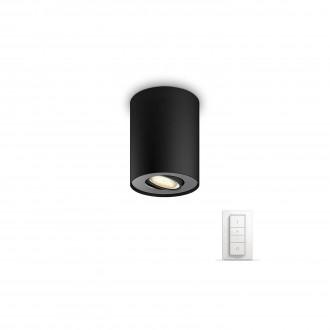 PHILIPS 56330/30/P7 | PHILIPS-hue_Pillar Philips stropne svjetiljke hue smart rasvjeta okrugli daljinski upravljač jačina svjetlosti se može podešavati, sa podešavanjem temperature boje 1x GU10 250lm 2200 <-> 6500K crno
