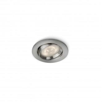 PHILIPS 59031/17/P0 | Ellipse Philips ugradbene svjetiljke WarmGlow svjetiljka jačina svjetlosti se može podešavati, pomjerljivo Ø91mm 1x LED 500lm 2700K kromni mat