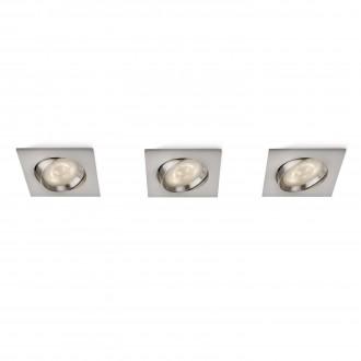 PHILIPS 59080/17/16 | Galileo Philips ugradbena svjetiljka jačina svjetlosti se može podešavati, trodijelni set, pomjerljivo 100x100mm 3x LED 1500lm 2700K kromni mat