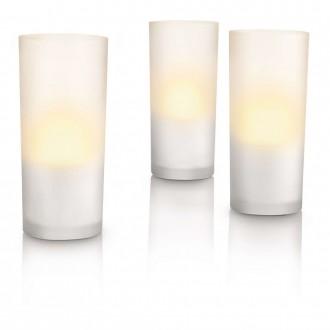 PHILIPS 69108/60/PH | CandleLights Philips dekoracija svjetiljka trodijelni set 3x LED 5lm 2700K IP65 bijelo