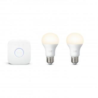 PHILIPS 8718696449554 | PHILIPS-hue Philips početni paket hue kontrolna jedinica + 2x E27 A60 hue LED izvori svjetlosti smart rasvjeta obični A60 jačina svjetlosti se može podešavati 2x E27 806lm 2700K bijelo