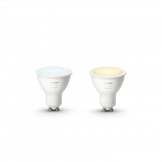 PHILIPS 8718696671184 | GU10 5,5W Philips spot LED izvori svjetlosti hue smart rasvjeta 250lm 2200 <-> 6500K jačina svjetlosti se može podešavati, sa podešavanjem temperature boje, dvodijelni set 45° CRI>80