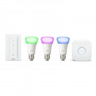 PHILIPS 8718696728796 | PHILIPS-hue Philips početni paket hue kontrolna jedinica + 3x E27 A19 RGB hue LED izvori svjetlosti + hue DIM portable prekidač smart rasvjeta obični A19 daljinski upravljač jačina svjetlosti se može podešavati, promjenjive boje 3x