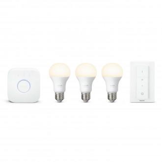 PHILIPS 8718696728987 | PHILIPS-hue Philips početni paket hue kontrolna jedinica + 3x E27 A60 hue LED izvori svjetlosti + hue DIM portable prekidač smart rasvjeta obični A60 daljinski upravljač jačina svjetlosti se može podešavati 3x E27 806lm 2700K bijel