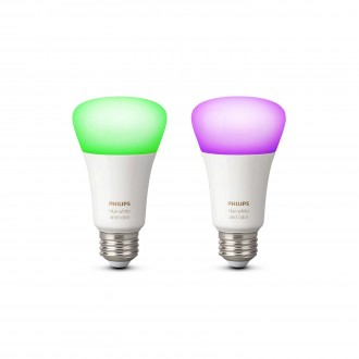 PHILIPS 8718696729052 | E27 10W Philips obični A19 LED izvori svjetlosti hue smart rasvjeta 806lm 2200 <-> 6500K jačina svjetlosti se može podešavati, promjenjive boje, dvodijelni set 160° CRI>80