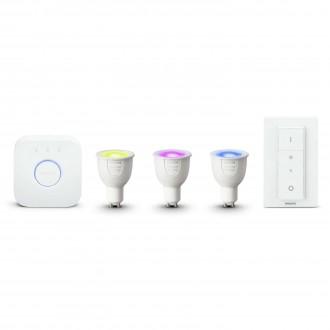 PHILIPS 8718696748930 | PHILIPS-hue Philips početni paket hue kontrolna jedinica + 3x GU10 RGB hue LED izvori svjetlosti + hue DIM portable prekidač smart rasvjeta spot daljinski upravljač jačina svjetlosti se može podešavati, promjenjive boje 3x GU10 250