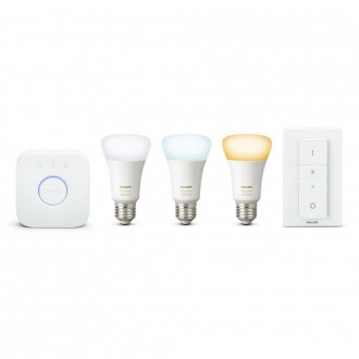 PHILIPS 8718696785232 | PHILIPS-hue Philips početni paket hue kontrolna jedinica + 3x E27 A60 hue LED izvori svjetlosti + hue DIM portable prekidač smart rasvjeta obični A60 daljinski upravljač jačina svjetlosti se može podešavati, Bluetooth, trodijelni s