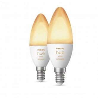 PHILIPS 8718699726355 | E14 6W Philips oblik svijeće B39 LED izvori svjetlosti hue smart rasvjeta 470lm 2200 <-> 6500K jačina svjetlosti se može podešavati, Bluetooth, dvodijelni set