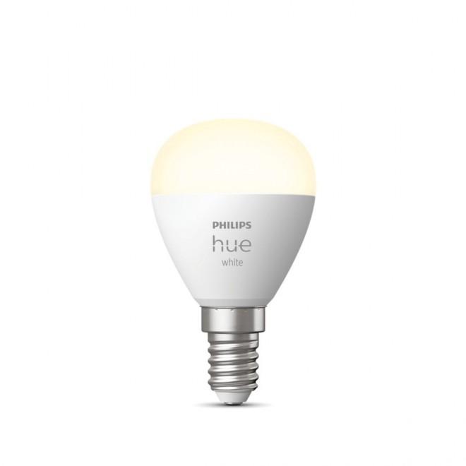 PHILIPS 8719514266889   E14 5,5W -> 40W Philips mala kugla P45 LED izvori svjetlosti hue smart rasvjeta 470lm 2700K jačina svjetlosti se može podešavati, Bluetooth CRI>80