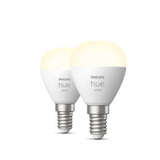 PHILIPS 8719514266902 | E14 5,5W -> 40W Philips mala kugla P45 LED izvori svjetlosti hue smart rasvjeta 470lm 2700K jačina svjetlosti se može podešavati, Bluetooth, dvodijelni set CRI>80