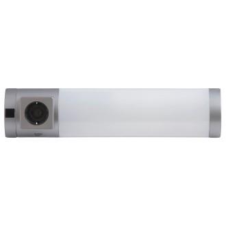 RABALUX 2326 | Soft Rabalux zidna svjetiljka s prekidačem s utičnicom 1x G23 / T1U 840lm 2700K srebrno
