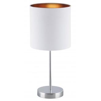 RABALUX 2528 | Monica Rabalux stolna svjetiljka 43cm sa prekidačem na kablu 1x E27 krom, bijelo, zlatno