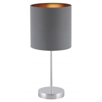RABALUX 2538 | Monica Rabalux stolna svjetiljka 43cm sa prekidačem na kablu 1x E27 krom, sivo, zlatno