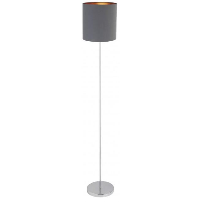 RABALUX 2539 | Monica Rabalux podna svjetiljka 148cm sa prekidačem na kablu 1x E27 krom, sivo, zlatno