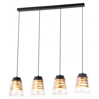 RABALUX 3544 | Zenaida Rabalux visilice svjetiljka 4x E27 crno mat, zlatno, prozirna