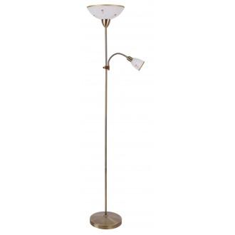 RABALUX 4009 | Art-Flower Rabalux podna svjetiljka 177,5cm sa prekidačem na kablu fleksibilna 1x E27 + 1x E14 bijelo alabaster, bronca