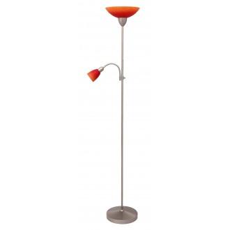 RABALUX 4017 | RainbowR Rabalux podna svjetiljka 177,5cm sa prekidačem na kablu fleksibilna 1x E27 + 1x E14 kromni mat, narančasto, crveno