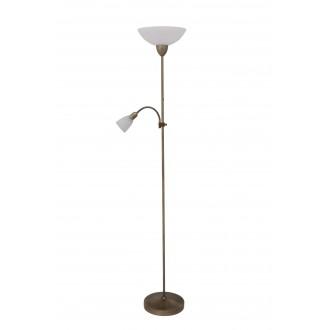 RABALUX 4019 | Pearl-classic Rabalux podna svjetiljka 177,5cm sa prekidačem na kablu fleksibilna 1x E27 + 1x E14 bronca, bijelo alabaster