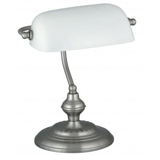 RABALUX 4037 | Bank Rabalux stolna svjetiljka 33cm sa prekidačem na kablu 1x E27 krom saten, bijelo