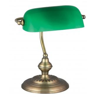 RABALUX 4038 | Bank Rabalux stolna svjetiljka 33cm sa prekidačem na kablu 1x E27 bronca, zeleno