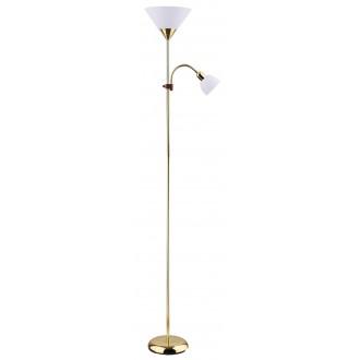 RABALUX 4060 | Action Rabalux podna svjetiljka 178cm sa prekidačem na kablu fleksibilna 1x E27 + 1x E14 zlatno, bijelo