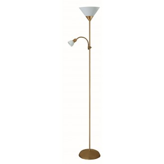 RABALUX 4065 | Action Rabalux podna svjetiljka 178cm sa prekidačem na kablu fleksibilna 1x E27 + 1x E14 bronca, bijelo