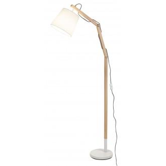 RABALUX 4192 | Thomas Rabalux podna svjetiljka 157cm sa prekidačem na kablu elementi koji se mogu okretati 1x E27 bijelo, bukva