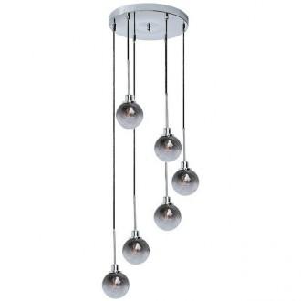 RABALUX 5004 | Semira Rabalux visilice svjetiljka 6x E14 krom, crno, dim