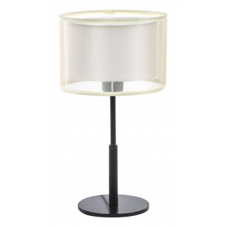 RABALUX 5095 | Aneta Rabalux stolna svjetiljka okrugli 40cm sa prekidačem na kablu 1x E27 crno, bež