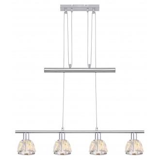 RABALUX 5319 | Calypso-RA Rabalux visilice svjetiljka balansna - ravnotežna, sa visinskim podešavanjem 4x E14 krom, prozirno, kristal