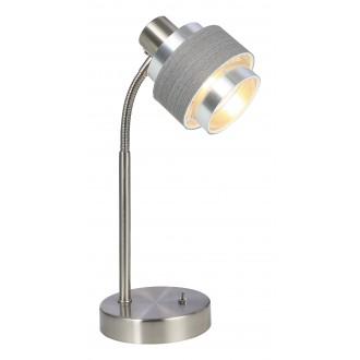 RABALUX 5384 | Basil Rabalux stolna svjetiljka 32cm s prekidačem 1x E14 krom saten, sivo