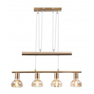 RABALUX 5551 | Holly-RA Rabalux visilice svjetiljka balansna - ravnotežna, sa visinskim podešavanjem 4x E14 antik zlato, jantar