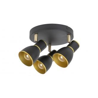 RABALUX 5607 | Mackenzie Rabalux spot svjetiljka elementi koji se mogu okretati 3x E14 crno, zlatno