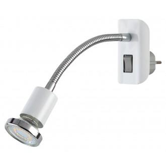 RABALUX 5673 | Dobra Rabalux utična svjetiljka svjetiljka s prekidačem fleksibilna 1x GU10 340lm 3000K krom, bijelo