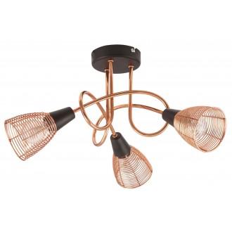 RABALUX 6035 | Veronica Rabalux stropne svjetiljke svjetiljka 3x E14 crveni bakar, crno
