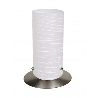 RABALUX 6339 | Aurel1 Rabalux stolna svjetiljka 24,5cm sa prekidačem na kablu 1x E27 saten, krom, sa bijelim prugama