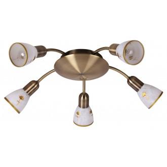 RABALUX 6360 | Art-Flower Rabalux spot svjetiljka 5x E14 bronca, bijelo, zlatno