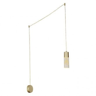 RABALUX 6560 | Floresta Rabalux visilice svjetiljka sa prekidačem na kablu sa kablom i vilastim utikačem, s mogućnošću skraćivanja kabla 1x LED 248lm 4000K zlatno, prozirno