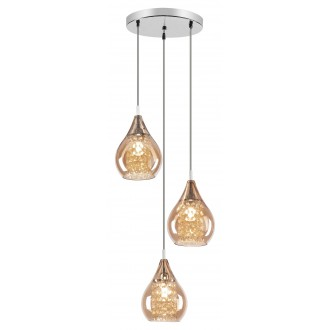 RABALUX 6659 | Cassandra Rabalux visilice svjetiljka 3x G9 krom, jantar, kristal