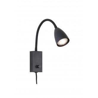 RABALUX 6719 | Mika-RA Rabalux spot svjetiljka s prekidačem elementi koji se mogu okretati, sa kablom i vilastim utikačem 1x GU10 crno