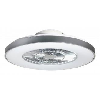 RABALUX 6858 | Dalfon Rabalux ventilatorska lampa stropne svjetiljke okrugli daljinski upravljač jačina svjetlosti se može podešavati, sa podešavanjem temperature boje, Bluetooth, noćno svjetlo 1x LED 1700lm 3000 <-> 6500K bijelo, srebrno, prozirna