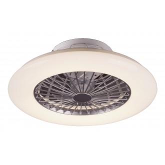RABALUX 6859 | Dalfon Rabalux ventilatorska lampa stropne svjetiljke okrugli daljinski upravljač jačina svjetlosti se može podešavati, sa podešavanjem temperature boje 1x LED 1700lm 3000 <-> 6500K bijelo, srebrno, učinak kristala