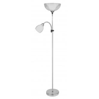 RABALUX 6878 | Dave Rabalux podna svjetiljka 178cm sa prekidačem na kablu fleksibilna 1x E27 + 1x E14 krom, bijelo, prozirno