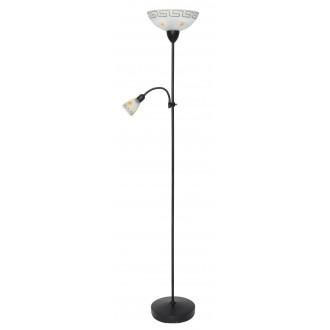 RABALUX 6968 | Etrusco Rabalux podna svjetiljka 183cm sa prekidačem na kablu fleksibilna 1x E27 + 1x E14 braon antik, sa bijelim patternom