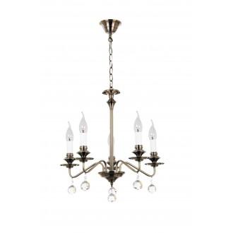 RABALUX 7058 | Beatrice Rabalux luster svjetiljka 5x E14 antik brončano, bijelo, prozirno
